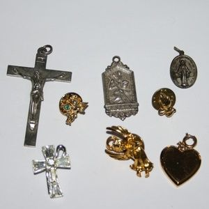 Vintage Religious lot of pendants and pins